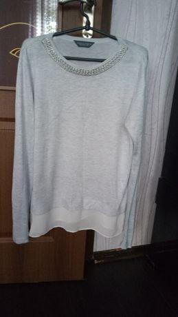 Свитер свитшот нарядный с имитацией рубашки