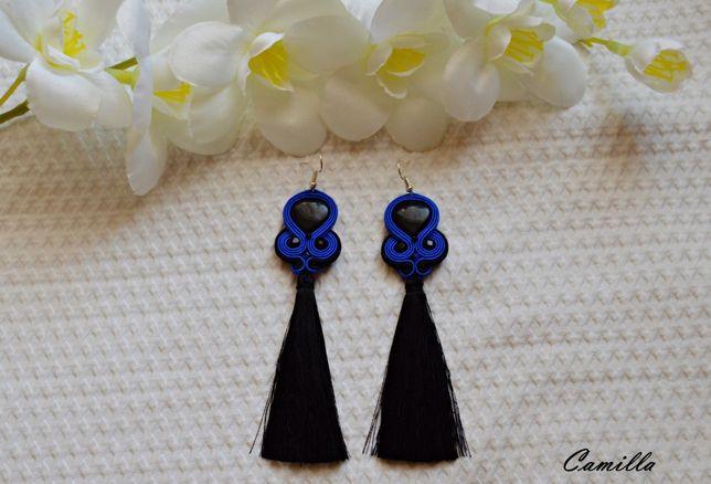 Czarno-niebieskie kolczyki sutasz