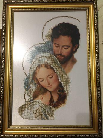 Картина бісером «Святе сімейство» в рамі