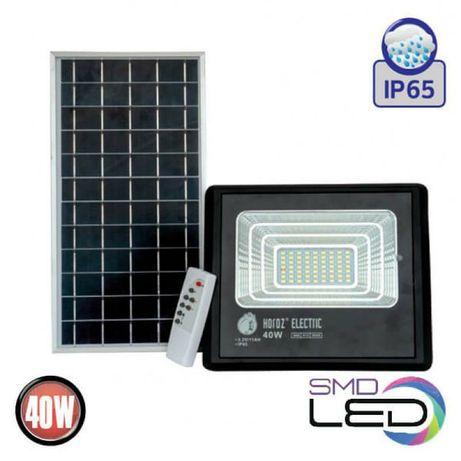 Прожектор светодиодный с солнечной панелью Horoz Electric TIGER-40 40W