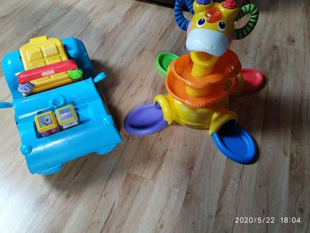 Zestaw zabawek Fischer Price żyrafka do piłeczek hipcio jeździk pchacz