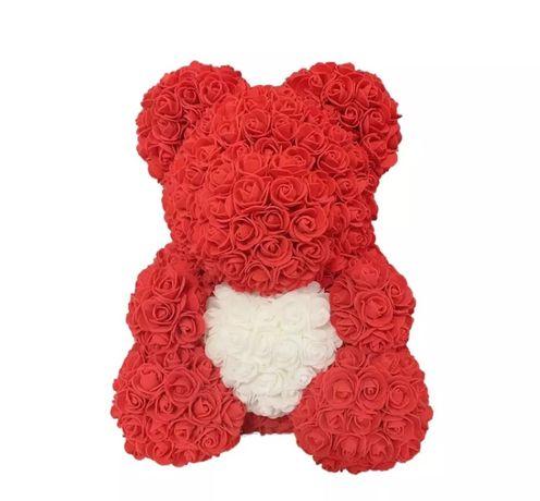 Czerwony miś z pinkowych róż 40cm prezent na dzień kobiet