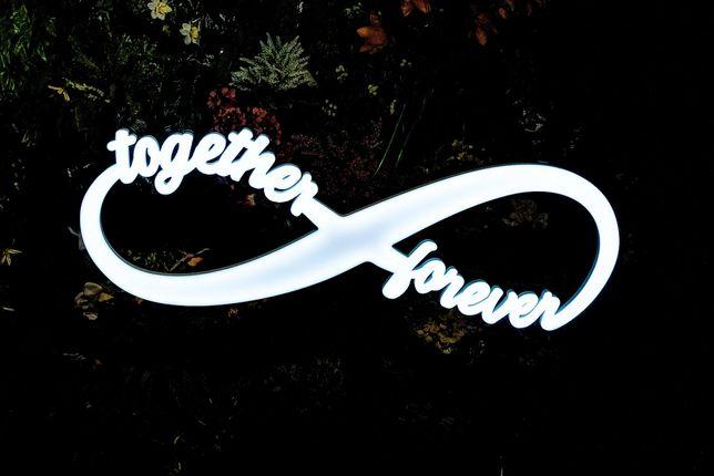 Napis Together Forever znak nieskończoności RGB Ledon I Wybierz Słowo!