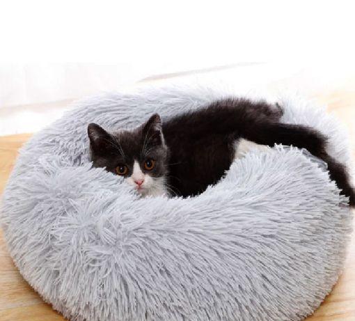 Пуфик лежак для котов для собак меховой, размер s, круглый, лежанка л
