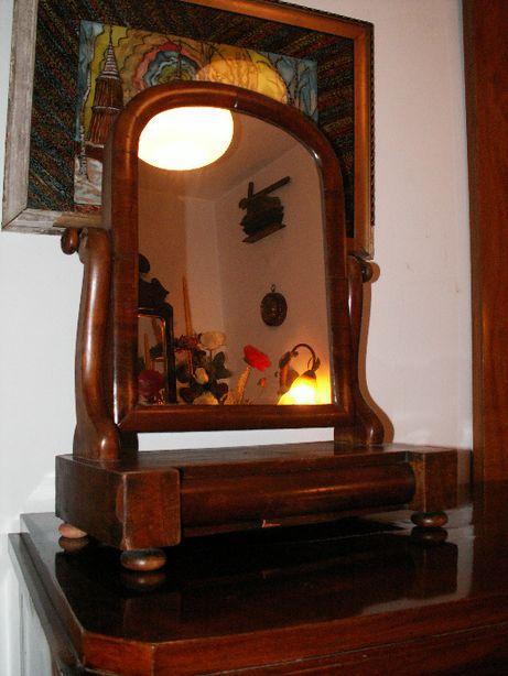 Toaletka nastawna szkło lustro mahoń biedermeier poł.19w komoda stół
