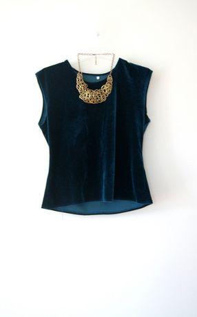 niebieska morska ciemnozielona welurowa aksamitna bluzka 36S 38M rekaw