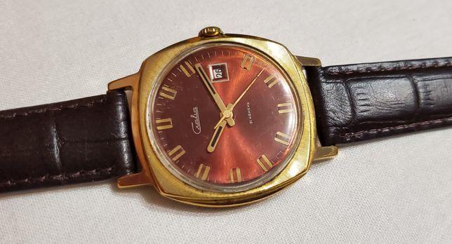 """Красивые часы """"Слава"""" в золочёном корпусе Au выпуск 2 МЧЗ 80 года ссср"""