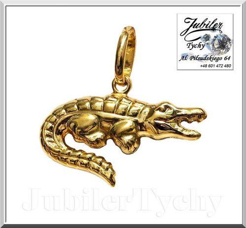 Złota zawieszka dwustronny wisiorek złoty krokodyl złoto 14K