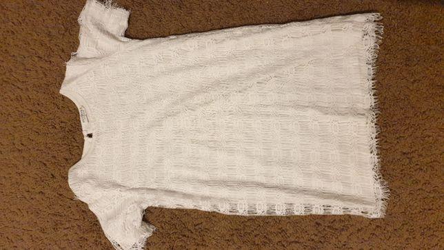 Sukienka, biała koronka r.128