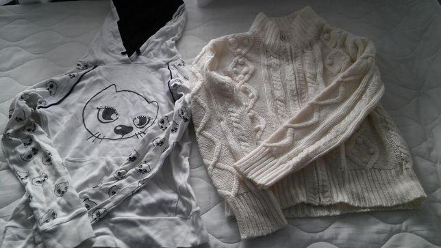 sweterek ciepły na zamek i bluza z kapturem roz. 152