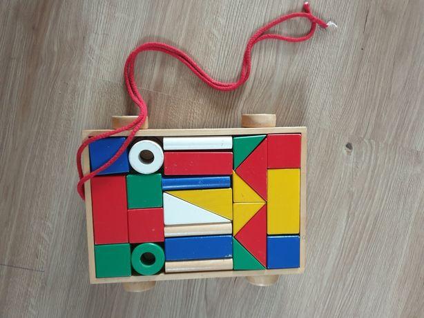 Zabawka ikea klocki z wózkiem mula drewniana