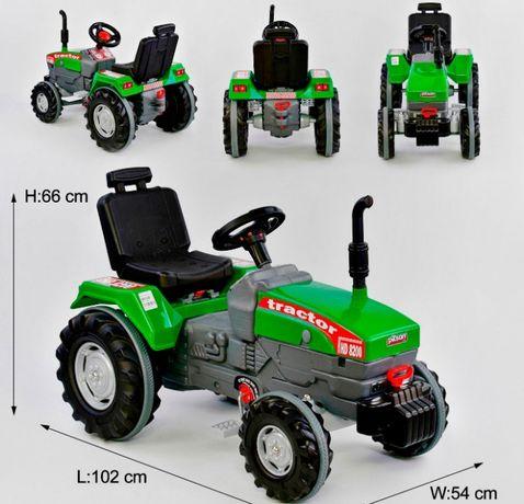 Детский трактор экскаватор педальный, прорезиненные колеса, клаксон