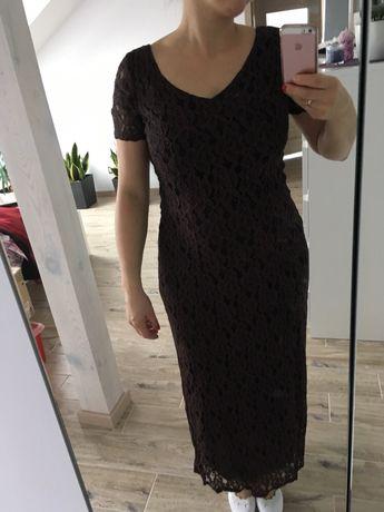 Długa koronkowa suknia brąz r.38