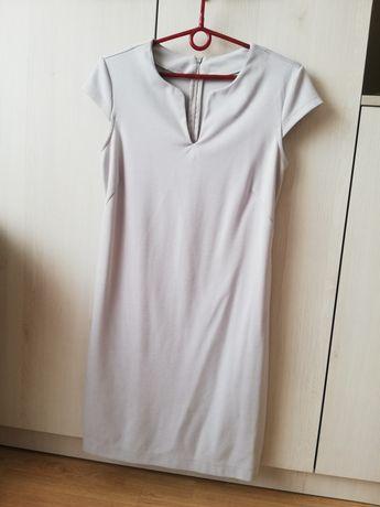 Szara sukienka biurowa tuba dopasowana rozmiar M 38