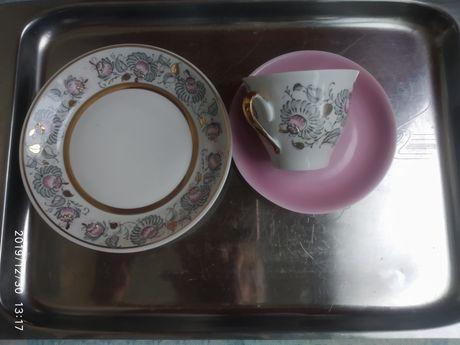Кофейный набор: чашка + блюдце + тарелочка для десерта