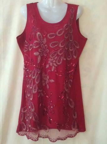 Блузка  женская бордовая расшитая бисером, 50-52 р-р шикарная.