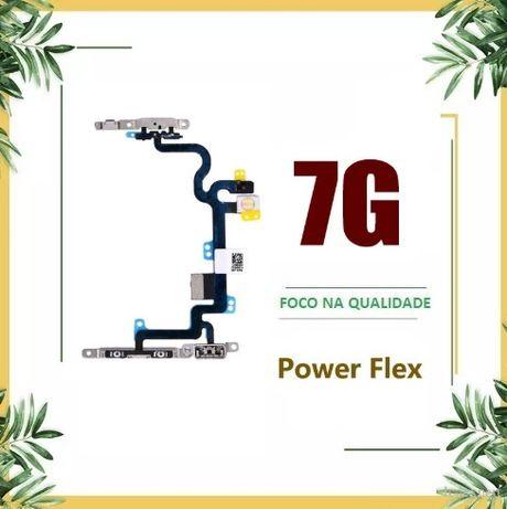 Flex Volume + Botão Power + Micro + Flash para Iphone 7 com Chapas