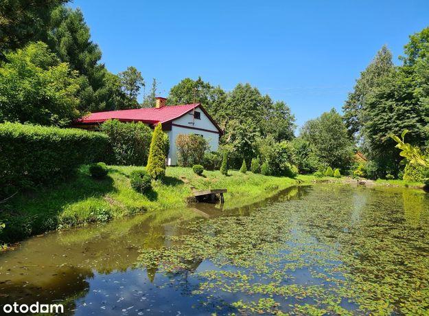 Dom nad rzeką, z ogrodem, lasem i stawami