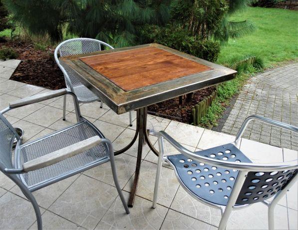 Indyjski stół / stolik ogrodowy z drewna egzotycznego + stal