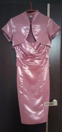 Elegancka, różowo - fioletowa sukienka na ramiączka + bolerko