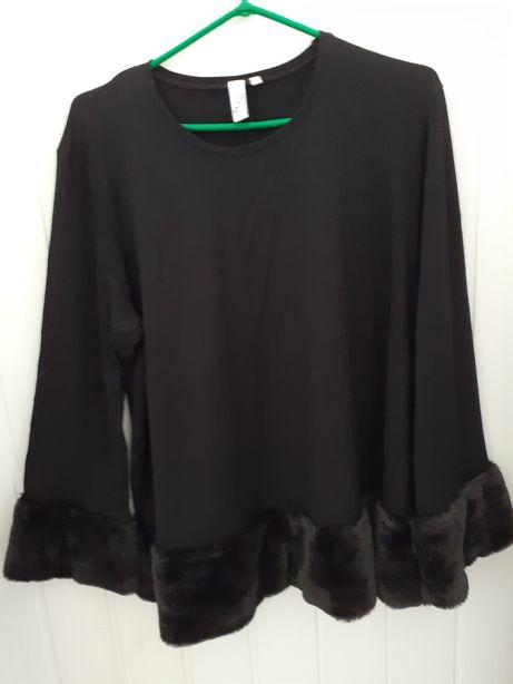 Czarna bluzka z obszyciem z czarnego futerka rozm.XXL