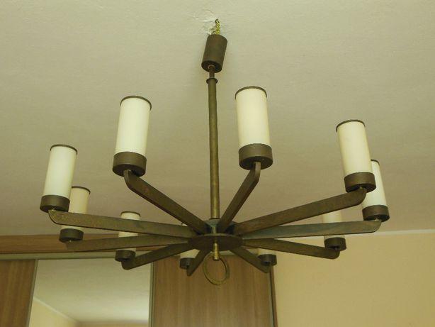 lampa żyrandol mosiężny 10-ramienny starocie