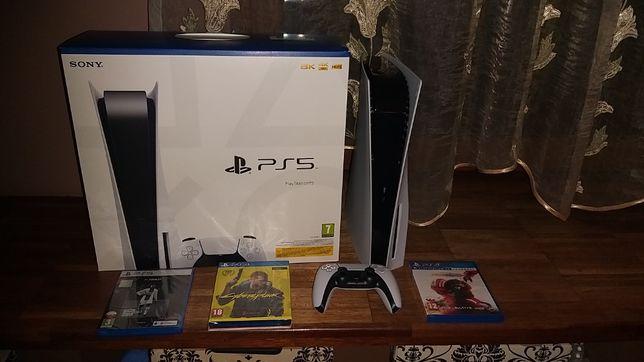 Konsola PS5 Blu-Ray + 3 gry, NOWA