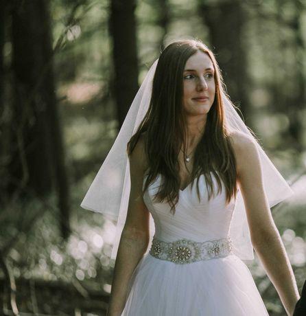 Suknia ślubna biała KSIĘŻNICZKA rozmiar 34 36