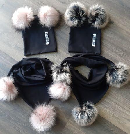 Komplet zimowy czapka plus komin/chusta/szalik