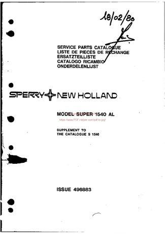 Katalog części kombajn Clayston 1540AL