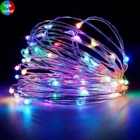Гирлянда 30 LED на батарейках 3м 5м 10м капли росы проволка гибкая