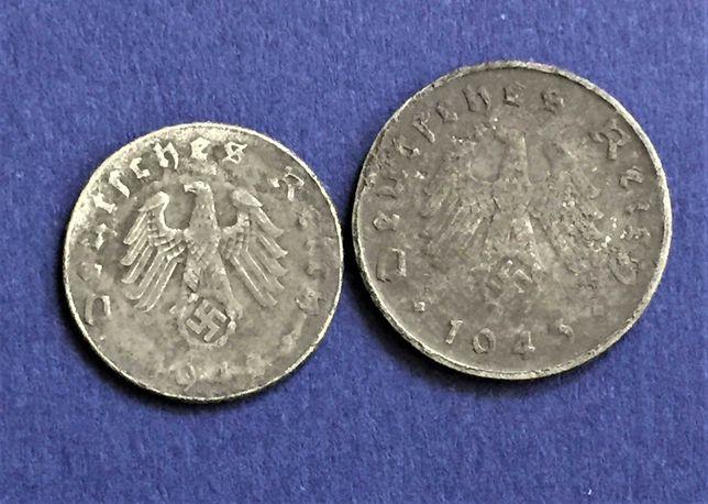 Alemanha nazi - 2 moedas de ZINCO - 5 e 10 pfennig 1942 e 1943