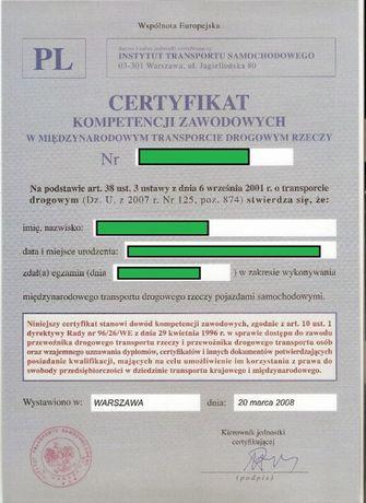 CKZ Certyfikat Kompetencji Zawodowych - przewóz rzeczy