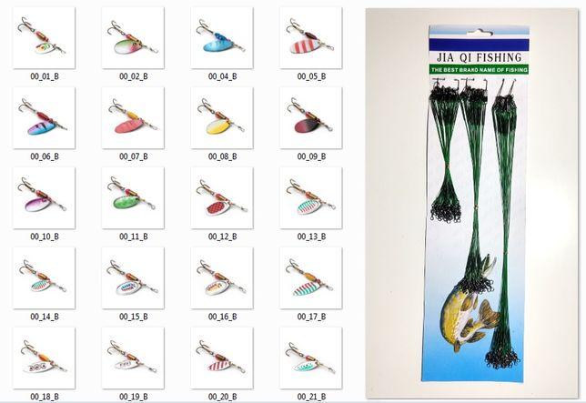 zestaw błystka OBROTÓWKA 20szt blacha pstrąg szczupak +36szt stalka