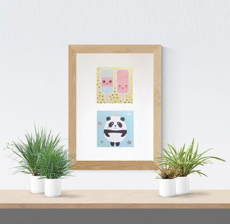śmieszny plakat pastelowy, plakat z pandą, plakat z lodami, pokój dzie