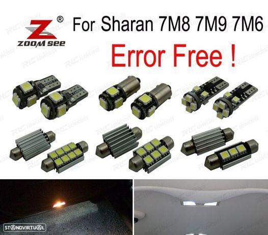 KIT COMPLETO DE 21 LÂMPADAS LED INTERIOR PARA VW SHARAN 7 M 8 7M9 7M6 2000-1995