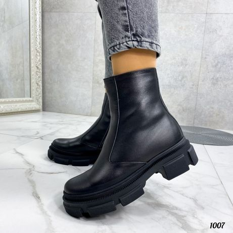 Ботинки кожаные/замш на шнурках/молния зимние