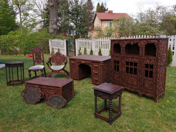 UNIKAT!!! Meble gabinetowe, biurowe, drewniane, ręcznie rzeźbione