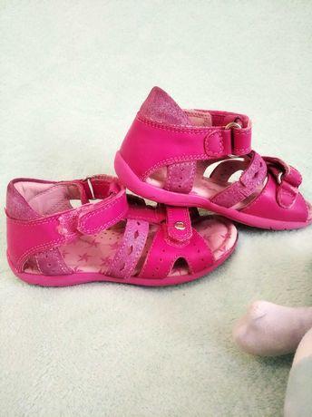 Buty sandałki sandały na dziewczynkę rozm 25 BARTEK różowe skórzane