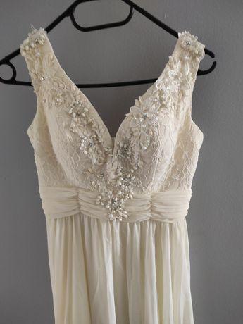 Sukienka suknia długa ślub ecru Pretty woman S 36