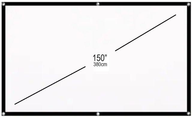 """Tela tecido branca portátil de projeção de vídeo 150"""" 3.8 metros 16:9"""