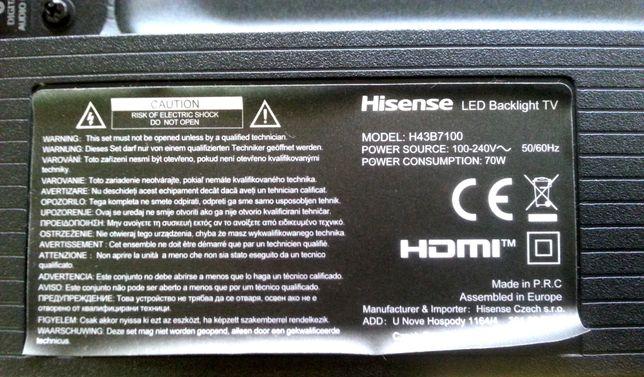 Tv Hisense H43B7100, ecrã partido, para recuperação de peças!