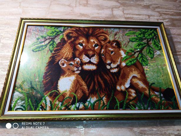 Картина бисером семья Львов ручная работа бисером