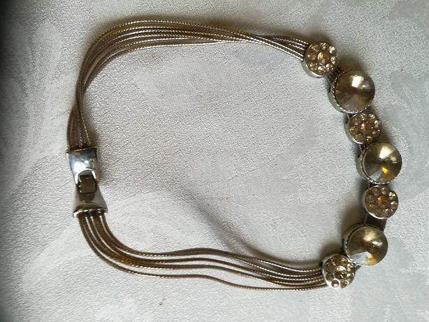 Naszyjnik kolia kolor złota cytryn cyrkonie