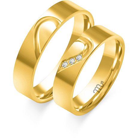 GRAWER Obrączki SERCE 4 mm Złote 333 (585) z Sercem Cyrkoniami Ślubne