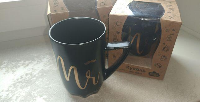 Чашка Milika керамическая черная Mr&Ms Black х2 новая на подарок