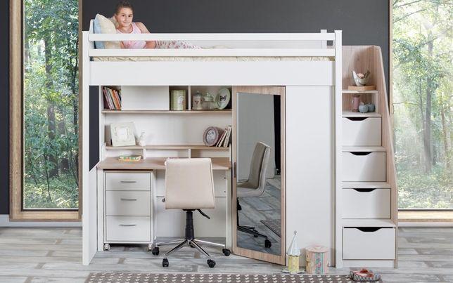 Łóżko piętrowe dziecięce z szafą biurko komoda ZESTAW COMPACT ROOM