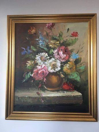 Obraz kwiaty malowane na płótnie