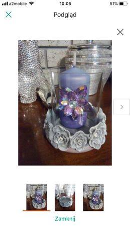 Ozdobny świecznik szklany z kwiatami świeca z diamentem glamour
