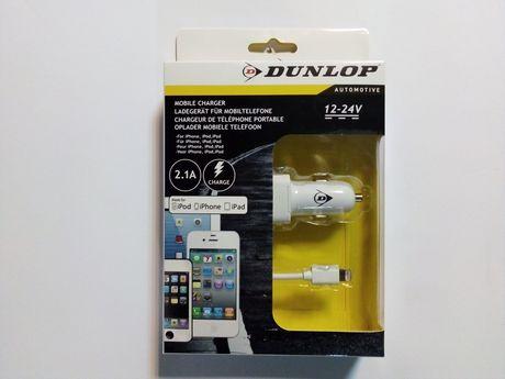 Ładowarka iPhone 5 6 7 iPad Plus iPod samochodowa 2.1A 12V 24V Dunlop